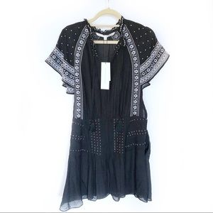 Veronica Beard Black Embroidered Minos Dress New